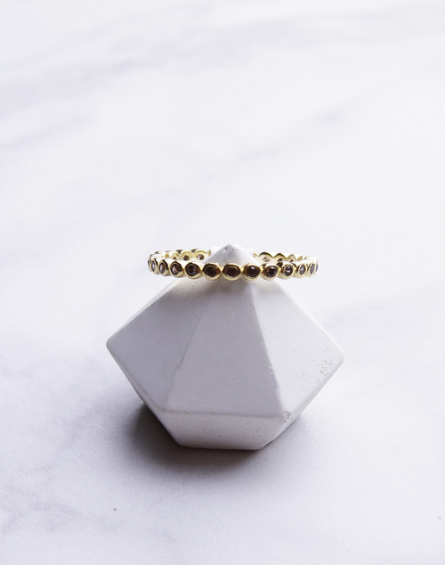 Chocolate Stone Bezel Ring