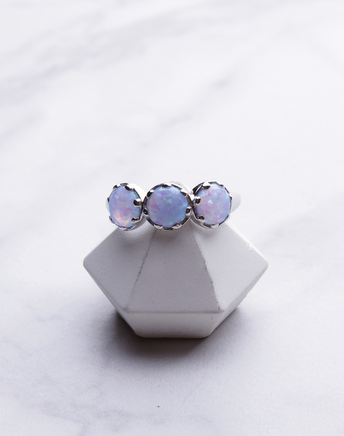 Prong Set 3 Opal Ring