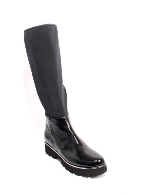 Black Patent Leather Stretch Zip-Up Knee-High Boots