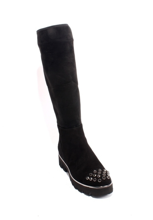 Black Silver Suede Stretch Zip Studded Knee-High Boot