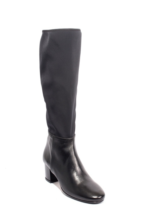 Black Leather / Stretch Zip-Up Knee-High Heel Boots