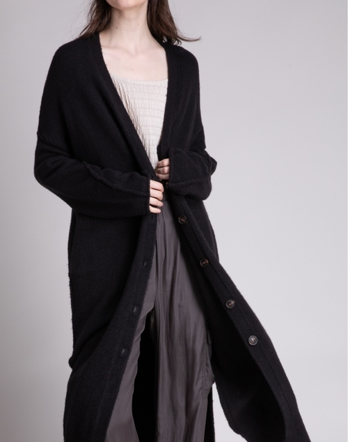 Sleeve Seam Long Button Cardigan