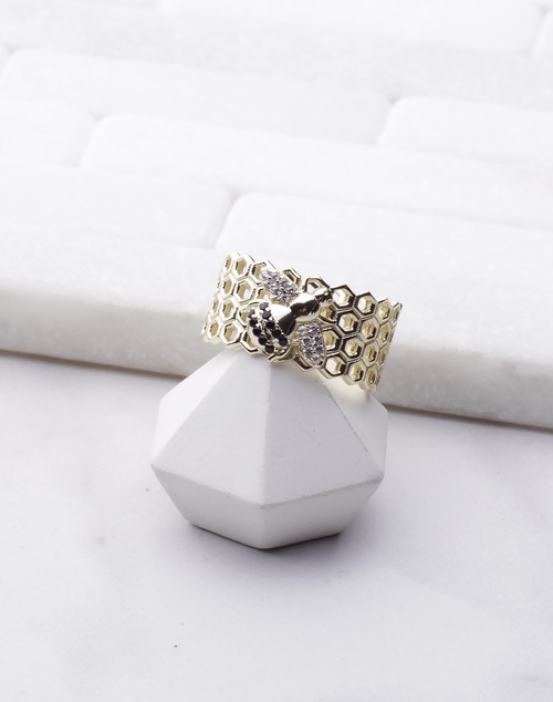 Honeycomb CZ Bee Band Ring