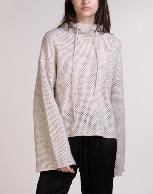 Knit Wide Sleeve Hoodie Sweater