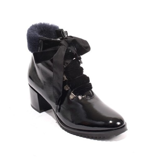 Black Navy Patent Leather Zip Lace Ankle Heels Boots