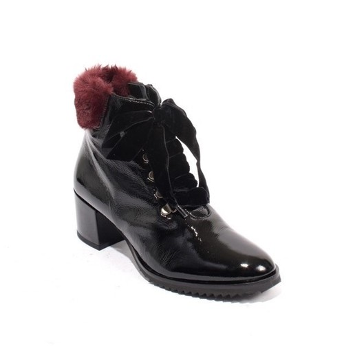 Black / Bordo Patent Leather Zip Lace Ankle Heels Boots