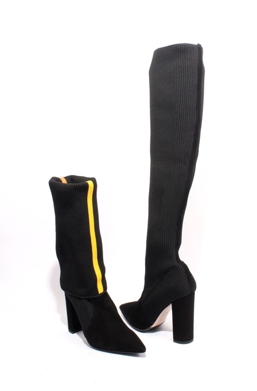 Black Suede Stretch-knit Sock Over the Knee Heel Boots