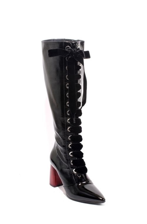 Black Patent Leather Zip Pointy Knee-High Boots