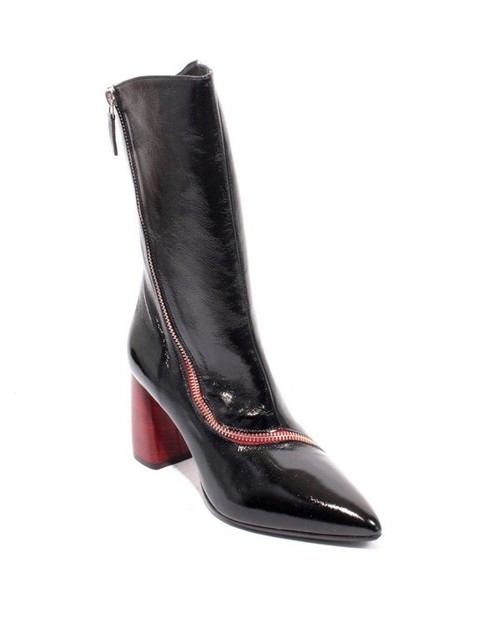Black Patent Leather Zip Pointy Mid-Calf Heels Boots