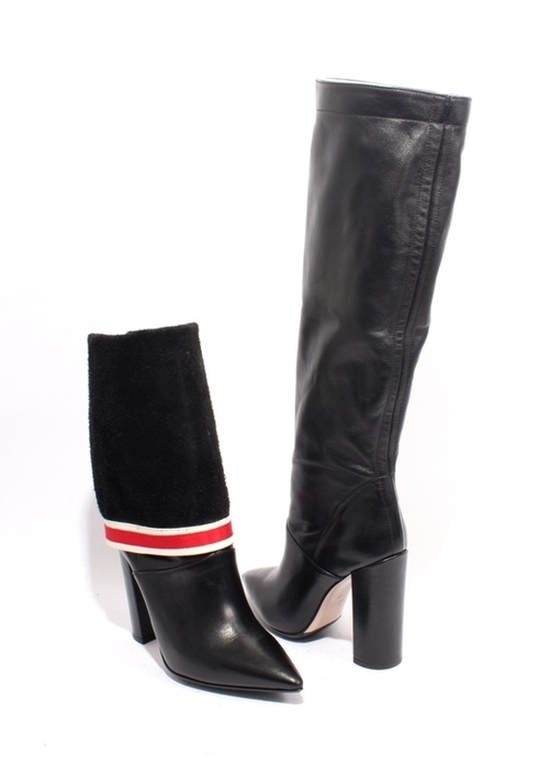 Black Red White Leather Pointy Over the Knee Heels Boots