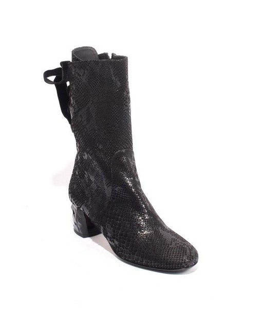 Black Suede Leather Zip Lace Mid-Calf Heel Boots