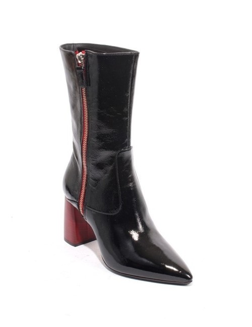 Black Patent Leather Zip Pointy Mid-Calf Heel Boot