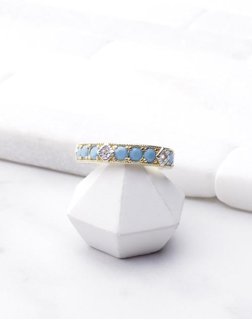 Turquoise CZ Big Band Ring