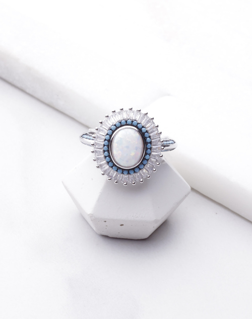 Opal Beaded CZ Turquoise Ring