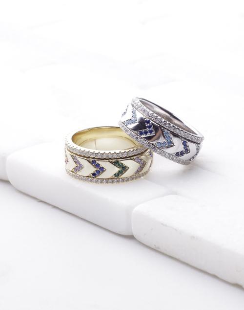 Cheveron Blue Stone Spinner Ring
