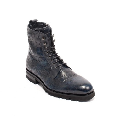 Navy Stamped Leather Fleece Lace Zip Ankle Boots