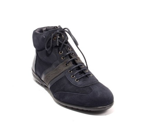 Navy Suede Leather Fur Lace Zip Sneaker Boots