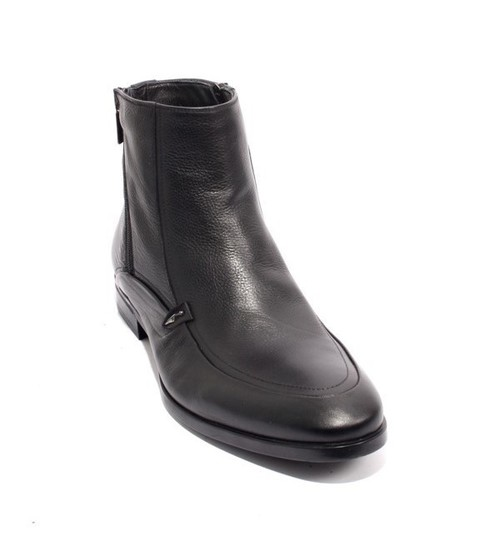 Black Leather Natural Fleece Zip-Up Ankle Boots