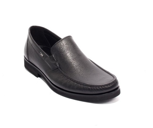 Black Leather Elastic / Loafers Shoes