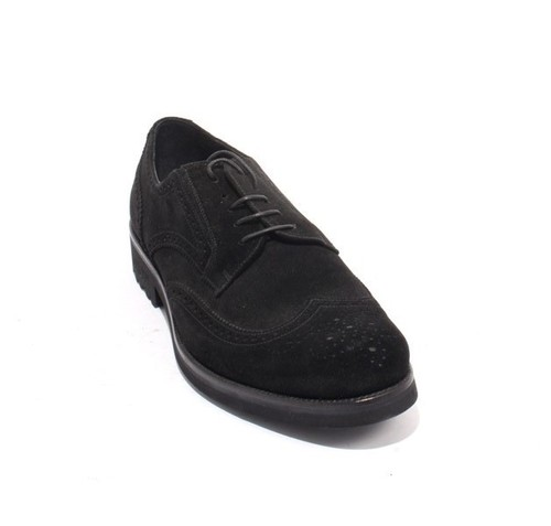 Black Suede Leather Elastic / Lace -Up Oxford Shoes