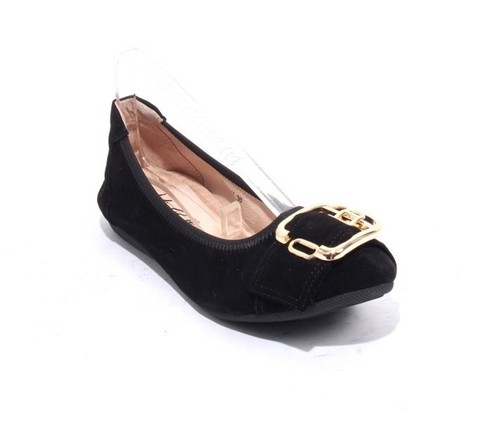 Black Suede Leather Comfort Buckle Ballet Flats