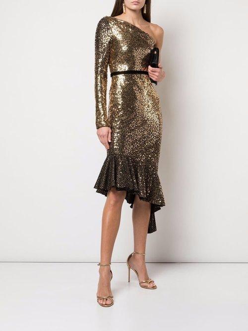 Glitter Ruffle Asymmetric Cocktail Dress