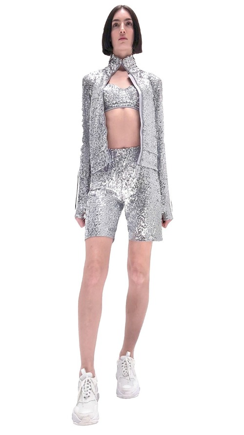 Overlapping Sequin Stripe Turtle Jacket