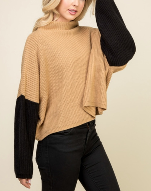 Long Sleeve Knit Contrast Sweater