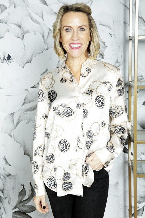 Off The Chain Printed Button Up Blouse