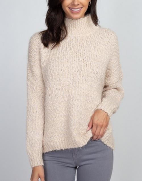 Popcorn Mock Neck Pullover