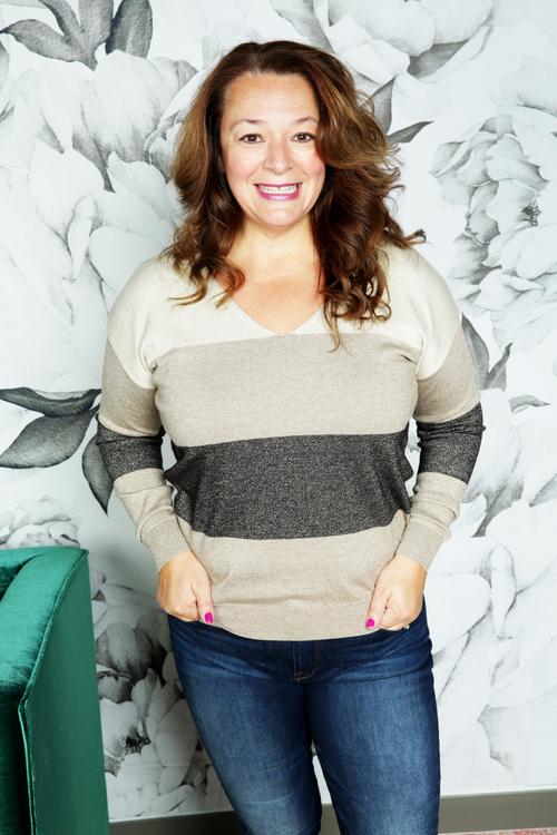 Metallic Color Block Sweater