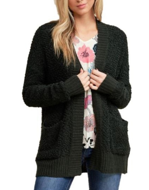 Rib Contrasted Fuzzy Open Cardigan