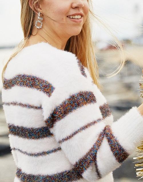 Fuzzy Knit Striped Sparkle Sweater