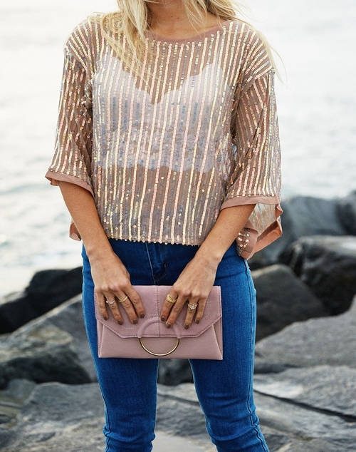 Sequin Stripe Mesh Top