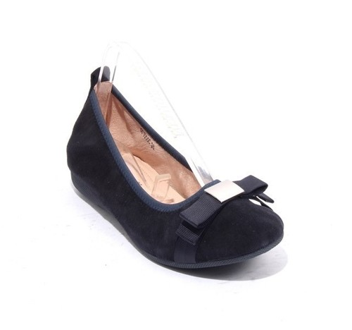 Navy Silver Suede Leather Bow Comfort Ballet Flats