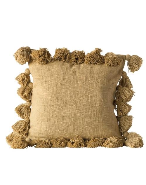 "18"" Square Tassel Cotton Pillow - Mustard"