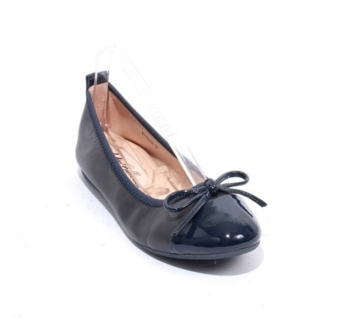 Navy Leather / Patent / Bow Comfort Ballet Flats