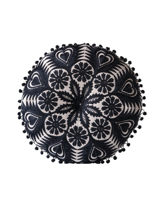 """15"""" Round Chambray Embroidered Pillow -Black"""