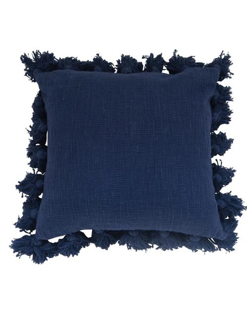 "18"" Square Tassel Cotton Pillow - Navy"
