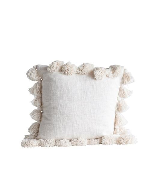 """18"""" Square Tassel Cotton Pillow - Cream"""