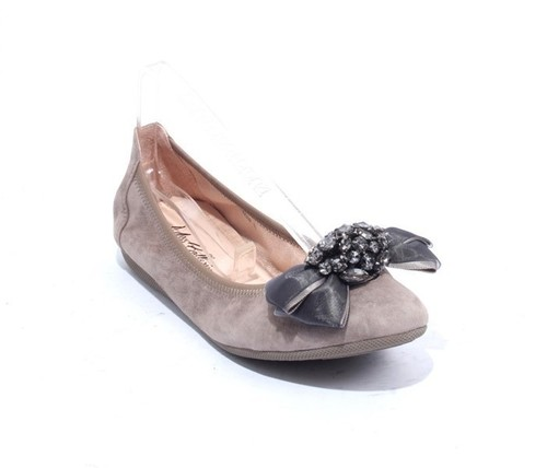 Gray Suede Leather Crystals Accessory Ballet Flats