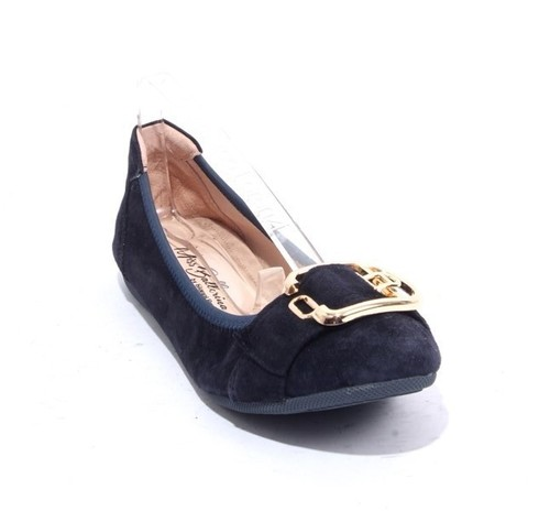Navy Suede Leather Comfort Buckle Ballet Flats