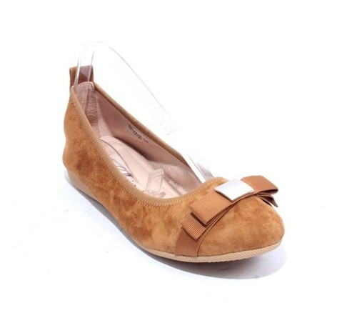 Brown Suede Leather Bow Comfort Ballet Flats