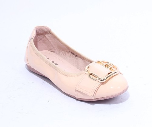 Beige Gold Patent Leather Buckle Ballet Flats