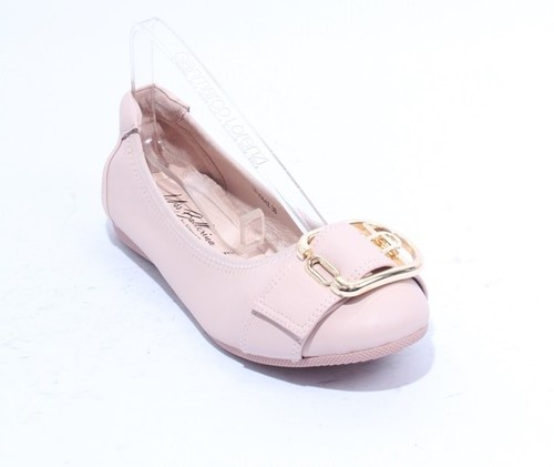 Light Pink Gold Leather Comfort Buckle Ballet Flat