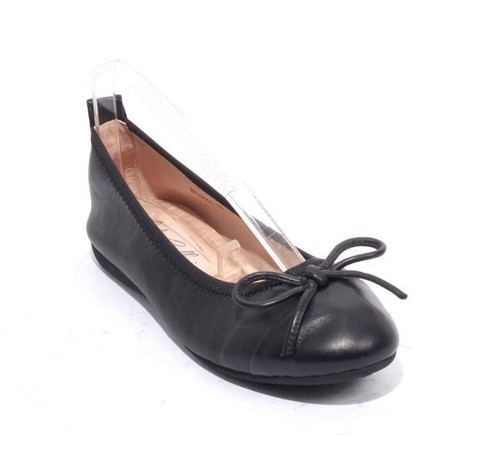 Black Leather Bow Comfort Ballet Flats