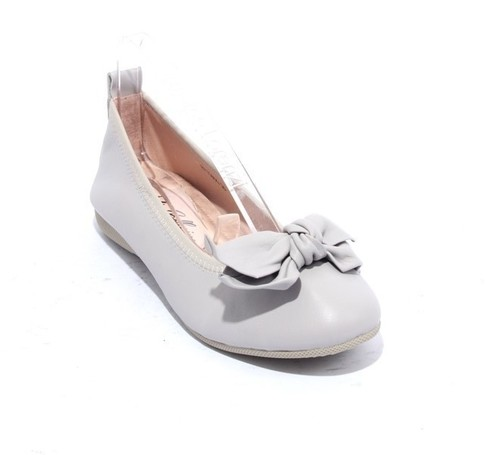 Gray Leather / Bow Comfort Ballet Flats