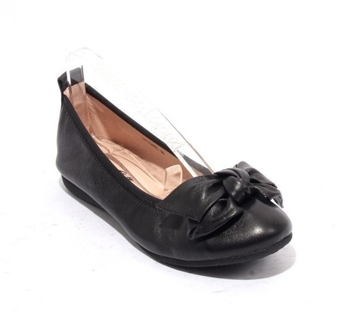 Black Leather / Bow Comfort Ballet Flats