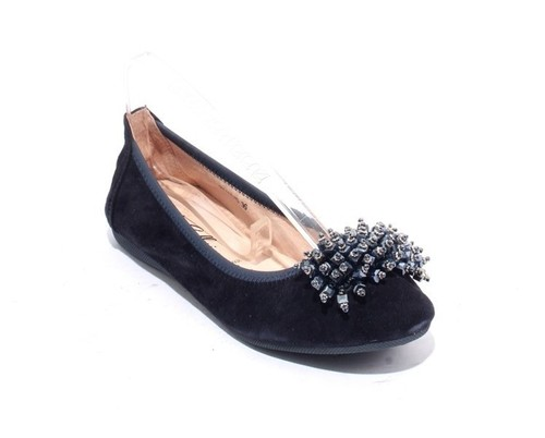 Navy Suede Leather Crystals Accessory Ballet Flats