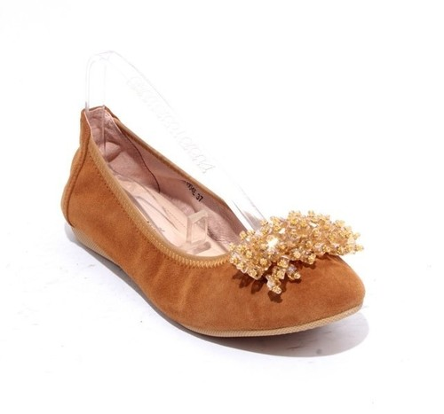Brown Suede Leather Crystal Accessory Ballet Flats